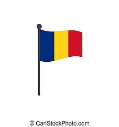 romania flag with pole icon vector isolated on white background