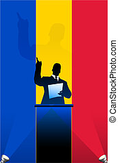 Romania flag with political speaker behind a podium