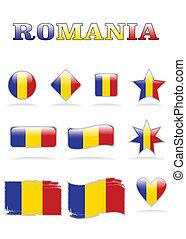 romania flags button eps 8