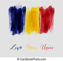 Romania Great Union day background with watercolor grunge...