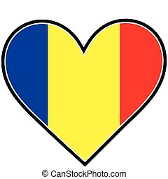 Romania Heart Flag