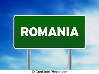 Romania Highway Sign - Green Romania highway sign on Cloud...