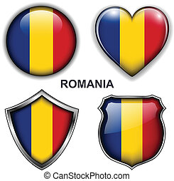 Romania icons - Romania flag icons, vector buttons.