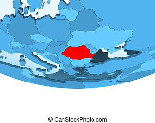 Romania in red on blue map