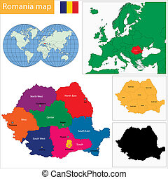 Romania map - Administrative division of the Romania