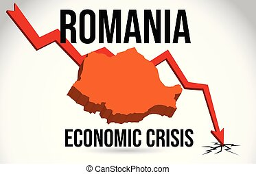 Romania Map Financial Crisis Economic Collapse Market Crash Global Meltdown Vector.