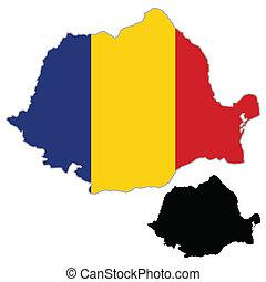 Romania map flag