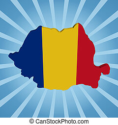 Romania map flag on blue sunburst illustration