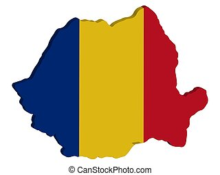 Romania Map flag Vector 3D illustration Eps 10