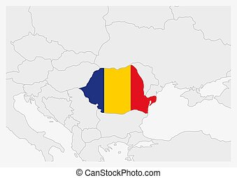 Romania map highlighted in Romania flag colors, gray map ...