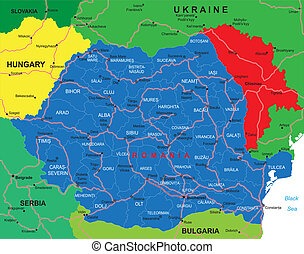 Highly detailed vector map of Romania with administrative regions, main cities and roads.