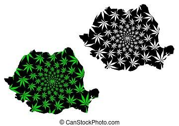 Romania - map is designed cannabis leaf