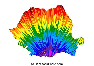 Romania - map is designed rainbow abstract colorful pattern