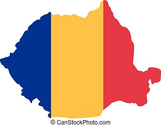 Romania map with flag