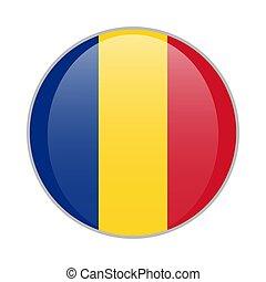 Romania national flag round glossy icon. Romanian badge Isolated on white background.