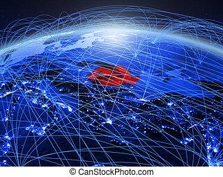 Romania on blue blue digital globe