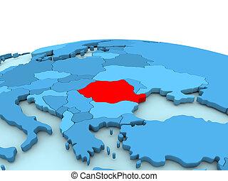 Romania on blue globe
