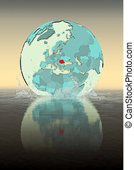 Romania on globe splashing in water