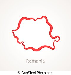 Romania - Outline Map - Outline map of Romania marked with...