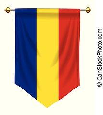 Romania Pennant - Romania flag or pennant isolated on white
