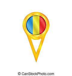 Romania pin flag