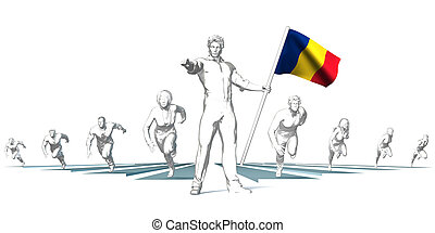 Romania Racing to the Future with Man Holding Flag