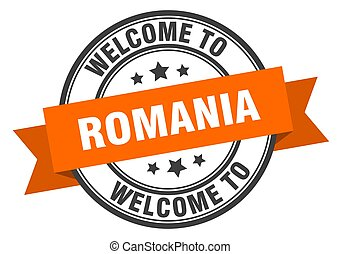 ROMANIA - Romania stamp. welcome to Romania orange sign