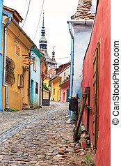 romania, século, medieval, fundado, rua, sighisoara, saxon,...