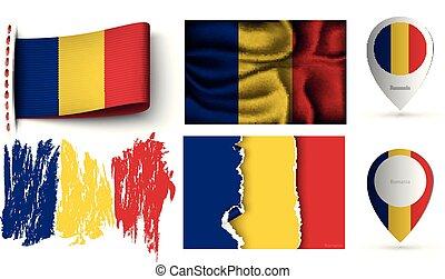 romania, set, bandiere, isolato, collezione