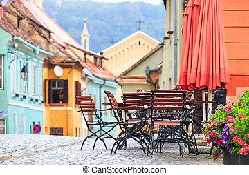 romania, sighisoara, rua, café, barzinhos, típico