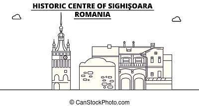 Romania - Sighisoara travel famous landmark skyline, panorama vector. Romania - Sighisoara linear illustration