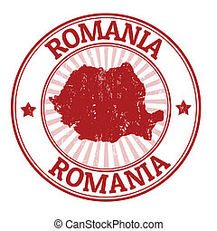 Romania stamp - Grunge rubber stamp with the name and map of...