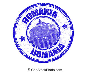 Romania stamp - Grunge rubber stamp with the romanian...