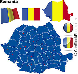 Romania vector set.