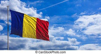Romania waving flag on blue sky. 3d illustration