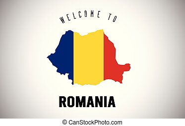 Romania Welcome to Text and Country flag inside Country border Map Vector Design.
