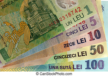 romanian banknotes: one, five, ten, fifty, one hundred; landscape orientation