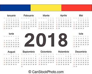 romanian, cirkel, vektor, kalender, 2018