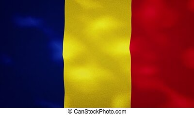 Romania dense flag fabric wavers, perfect loop for background