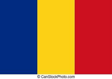 Romanian flag, flat layout, vector illustration