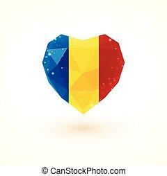 Romanian flag in shape diamond glass heart. Triangulation style