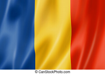 Romanian flag - Romania flag, three dimensional render, ...