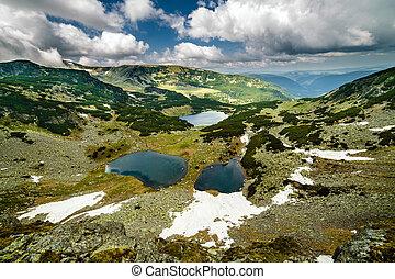 Romanian glacial lakes - Lakes Calcescu, Vidal and Pencu in...