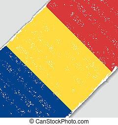 Romanian grunge flag. Vector illustration.