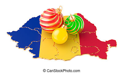 Romanian map with colored Christmas balls. New Year and Christmas holidays concept, 3D rendering