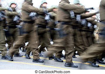 Romanian military army - Romanian soldiers marching in an...