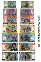 All Types of Romanian Leu Money Banknotes Curency isolated on white