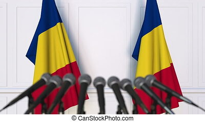 Romanian official press conference with flags of Romania. 3D...