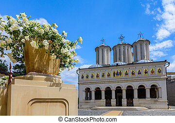 Romanian Patriarchal Cathedral on Dealul Mitropoliei 1665-1668, in Bucharest, Romania. Architectural details in close-up in a sunny day with a blue sky