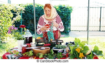 Romanian Peasant Selling Local Products - Romanian peasant...